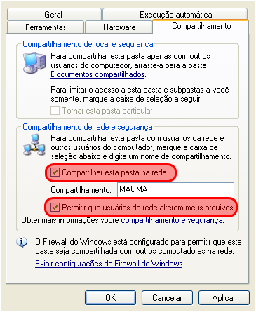 Configuração Compartilhamento pendrive no Windows XP